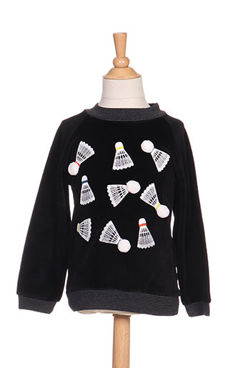 Pull col rond noir MILK ON THE ROCKS pour fille