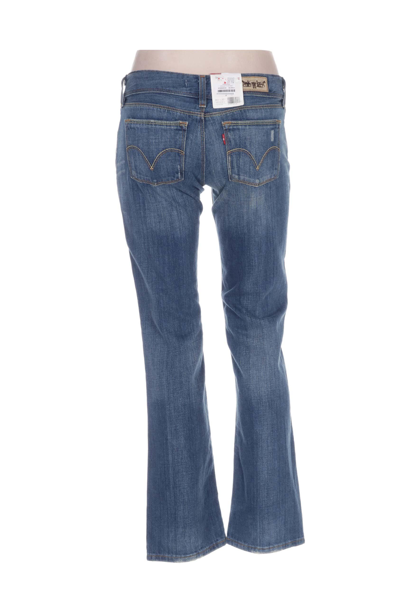 Levis Jeans Coupe Droite Femme De Couleur Bleu En Soldes Pas Cher 1195050-bleu00 - Modz