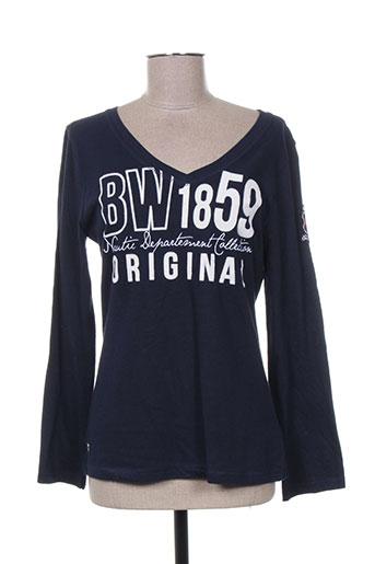 black wellis t-shirts femme de couleur bleu