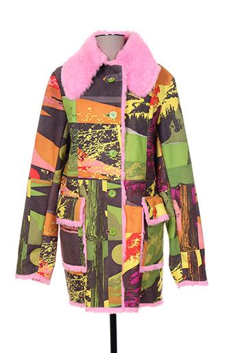 Manteau long vert CUSTO pour femme