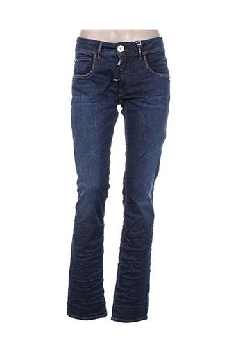 high jeans femme de couleur bleu