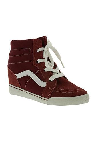 vans chaussures femme de couleur rouge