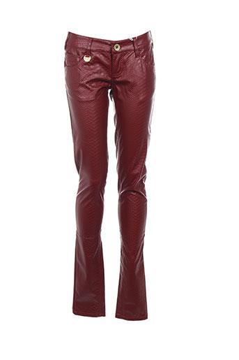 blue rags pantalons femme de couleur rouge
