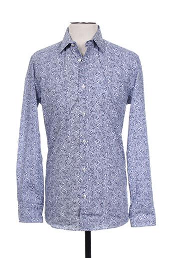 spontini chemises homme de couleur bleu
