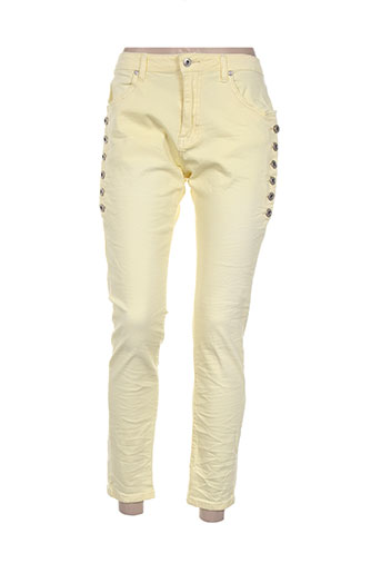place du jour pantalons femme de couleur jaune
