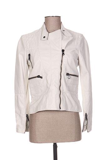 Veste en cuir blanc CORLEONE pour femme