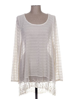 Pull col rond blanc G!OZE pour femme