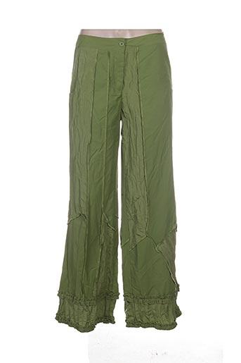 l33 pantalons femme de couleur vert
