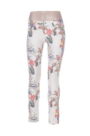 place du jour pantalons femme de couleur blanc
