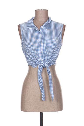 brigitte bardot chemises femme de couleur bleu