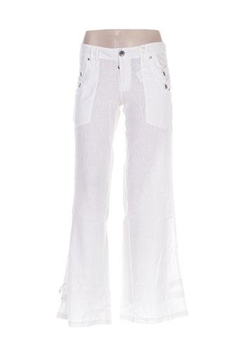 double one peace pantalons femme de couleur blanc