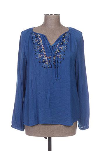 color block chemises femme de couleur bleu