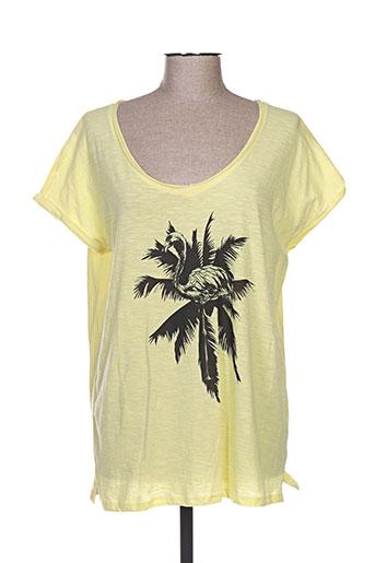 T-shirt manches courtes jaune AN FAMILLE pour femme