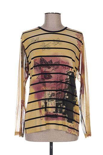 manadour t-shirts femme de couleur jaune