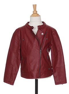 Veste simili cuir fille rouge