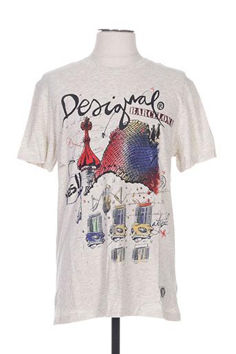 T-shirt manches courtes gris DESIGUAL pour homme