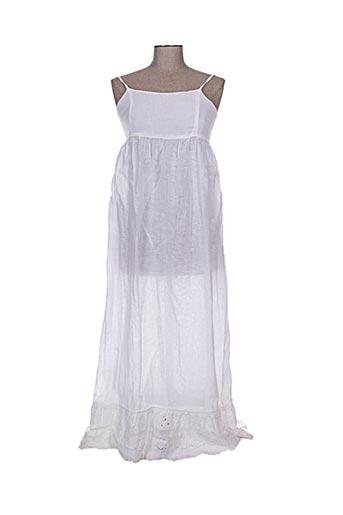120% lino robes femme de couleur blanc