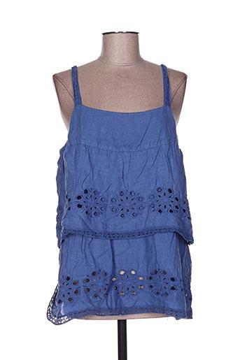 120% lino chemises femme de couleur bleu