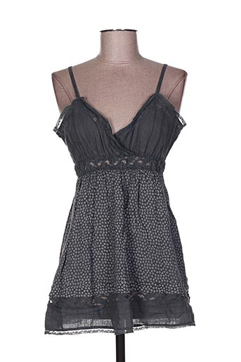 120% lino chemises femme de couleur gris