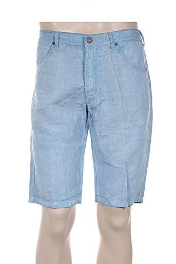 120% lino shorts / bermudas homme de couleur bleu