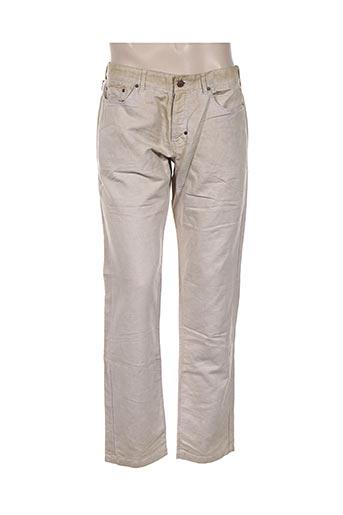 120% lino pantalons homme de couleur beige