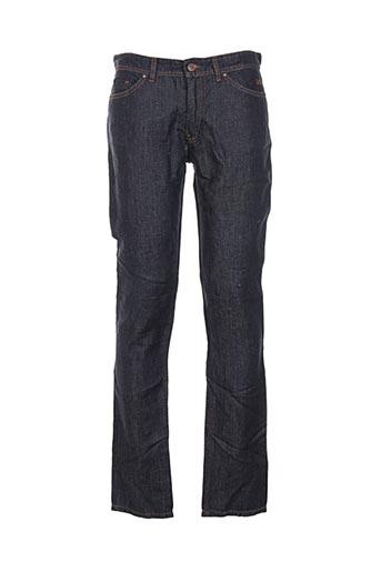 120% lino pantalons homme de couleur bleu