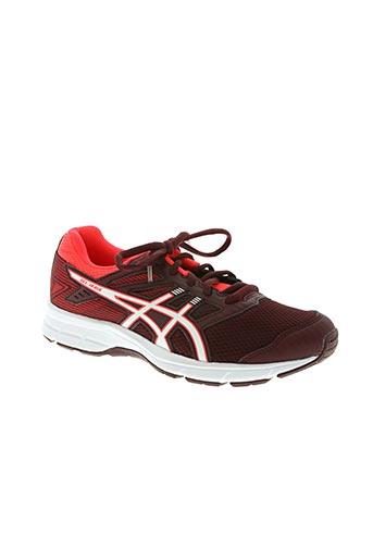 asics chaussures femme de couleur rouge