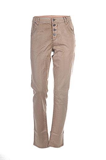 imitz pantalons femme de couleur beige