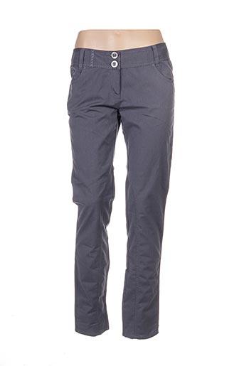 Pantalon casual gris DOUBLE ONE PEACE pour femme