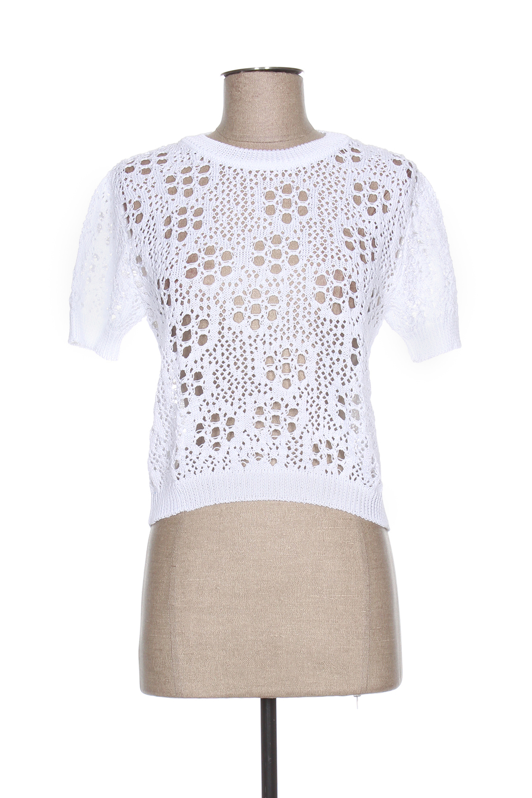 Pull col rond femme Jacqueline Coq blanc taille : 38 75 FR (FR)