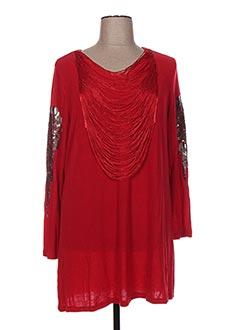Pull tunique rouge H-3 pour femme