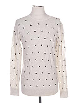 Pull col rond beige SCOTCH & SODA pour femme