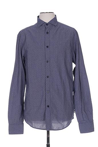 Chemise manches longues bleu ARMANI pour homme