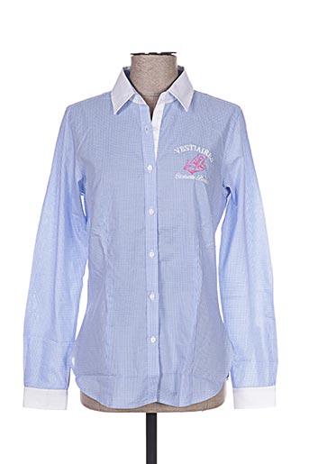 vestiaires principaute cannoise chemises femme de couleur bleu