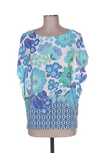 Blouse manches courtes bleu CALIBAN pour femme