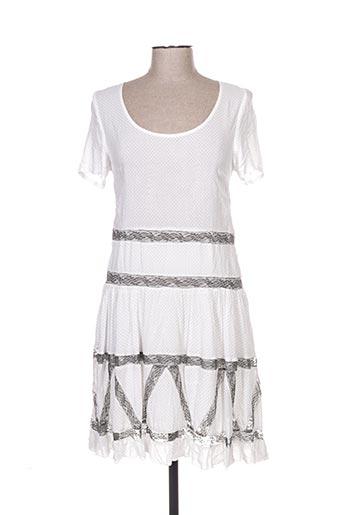 Robe mi-longue blanc FEMMES JE VOUS AIME pour femme