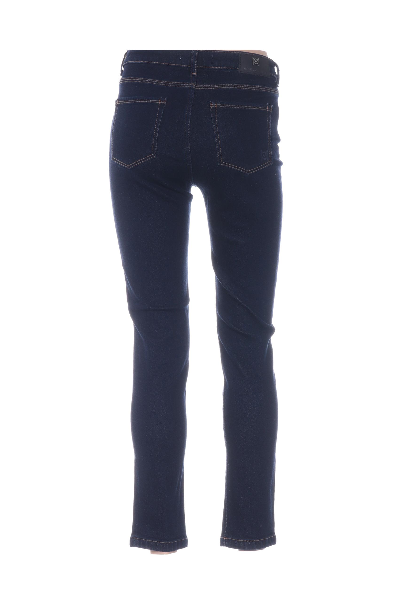 Mensi Collezione Jeans Coupe Slim Femme De Couleur Bleu En Soldes Pas Cher 1283610-bleu00