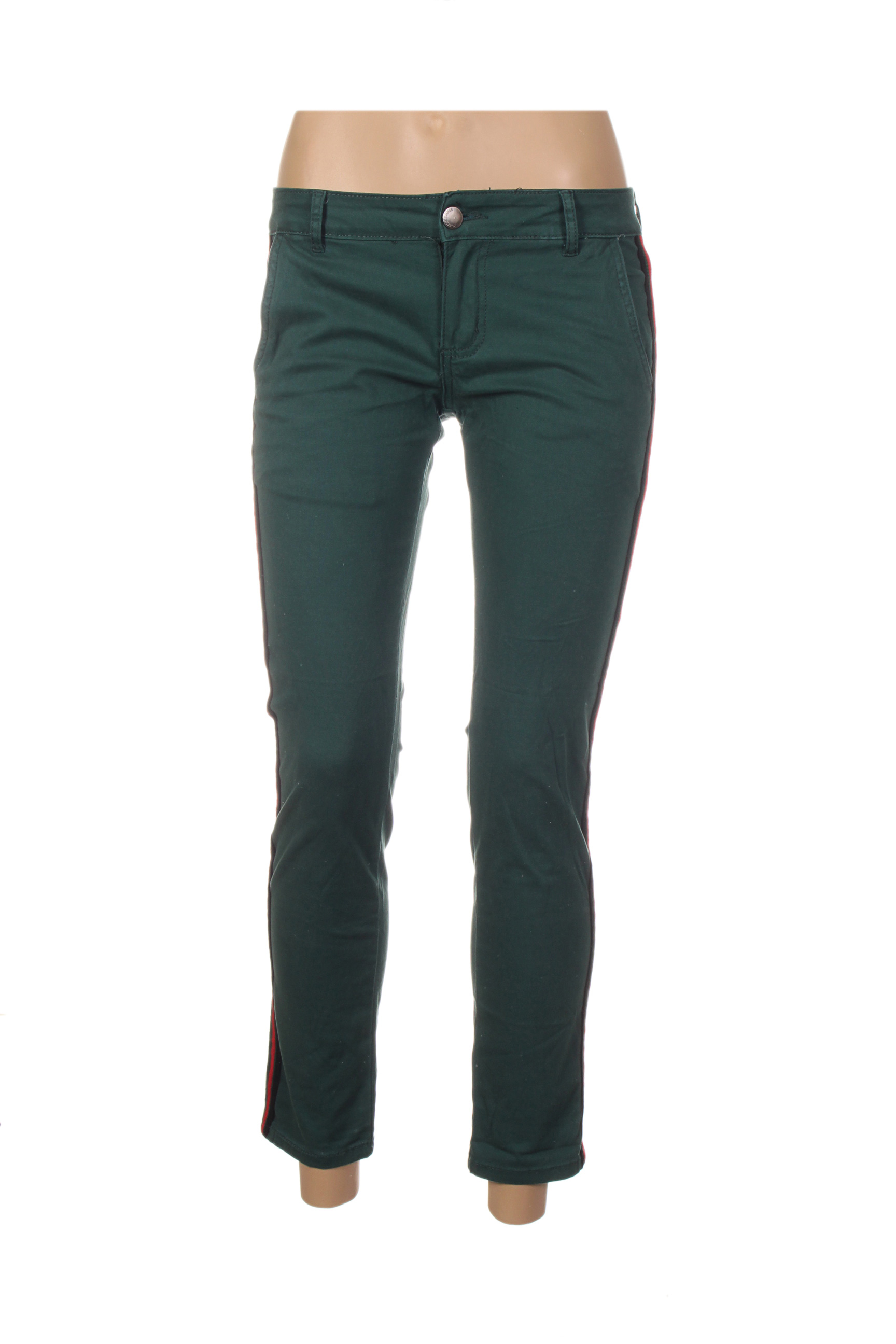 place du jour pantalons decontractes femme de couleur vert en soldes pas cher 1308291 vert00 modz