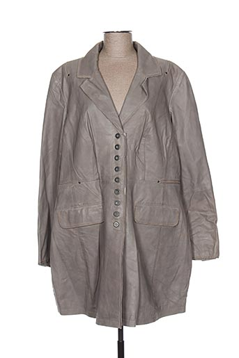 Veste en cuir gris EMILIA LAY pour femme