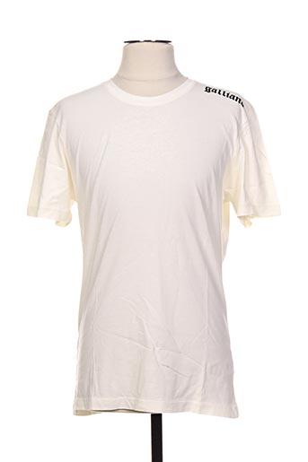 T-shirt manches courtes beige GALLIANO pour homme