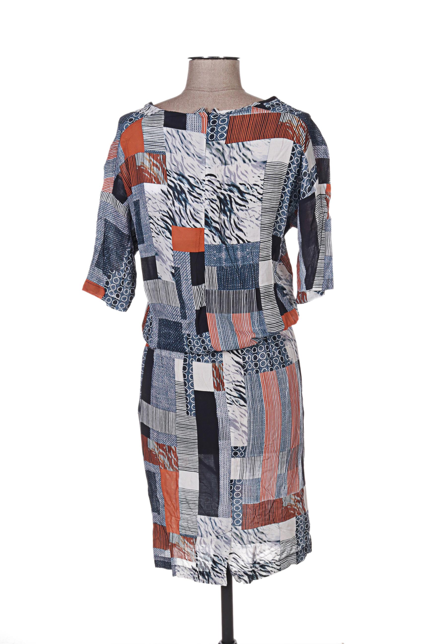 Quattro Robes Mi Longues Femme De Couleur Bleu En Soldes Pas Cher 1292652-bleu00