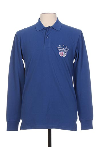 Polo manches longues bleu CAMBE pour homme