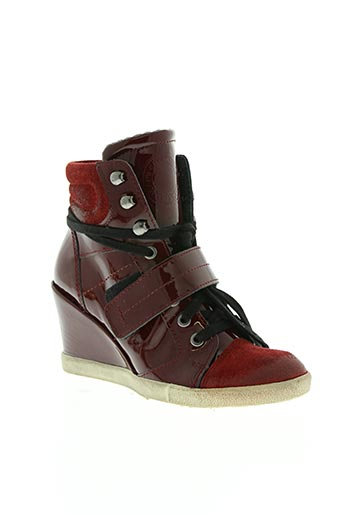 metal jean's chaussures femme de couleur rouge