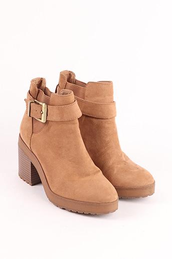 Bottines/Boots beige BERSHKA pour femme
