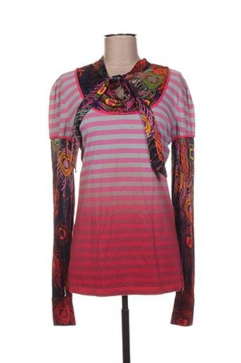 T-shirt long rose CUSTO pour femme