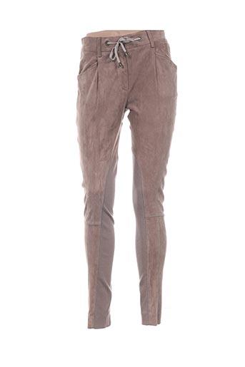 Pantalon casual beige GUNEX pour femme