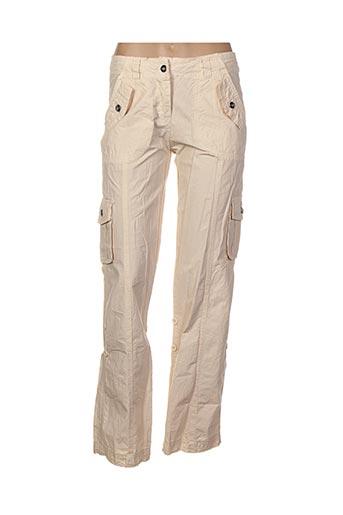 Pantalon casual beige EXCELLIUM pour femme