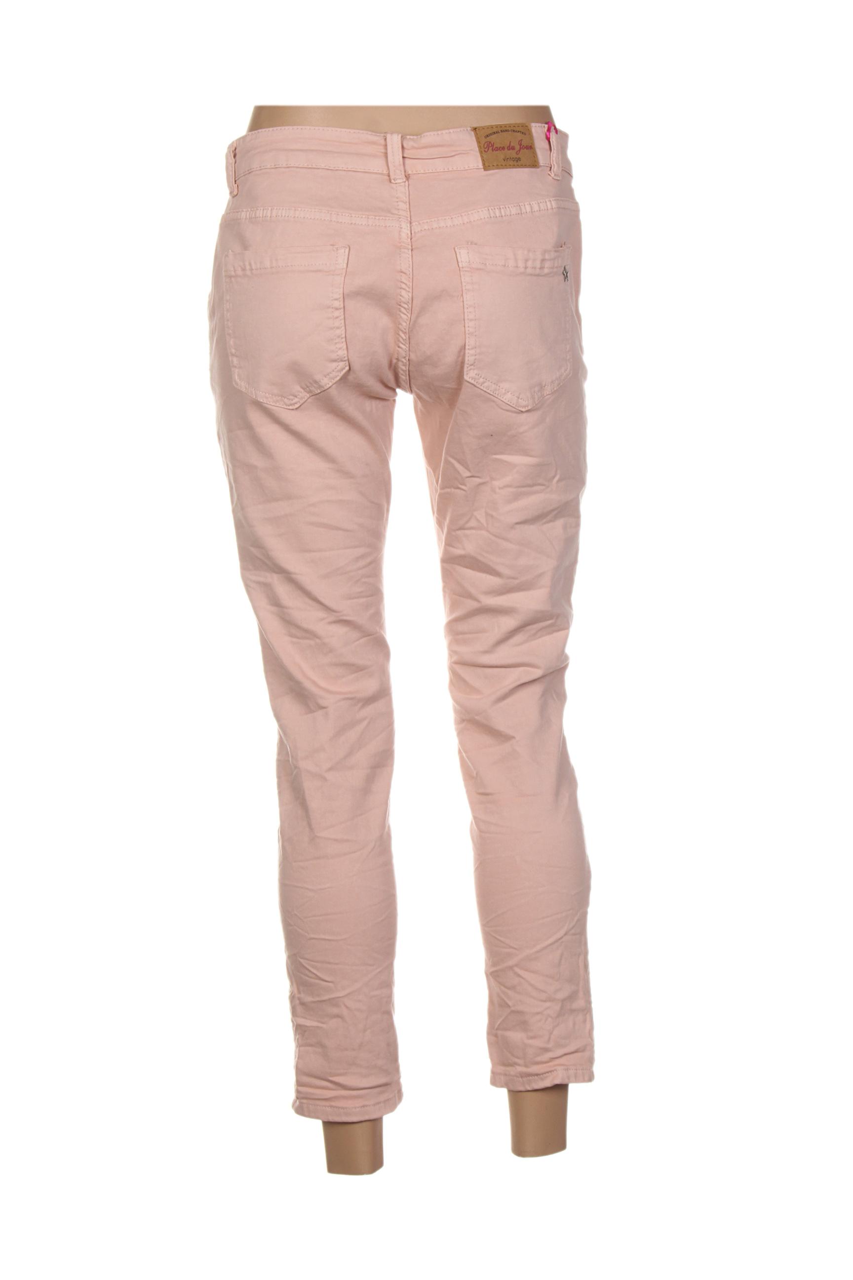 place du jour jeans coupe slim femme de couleur rose en soldes pas cher 1326495 rose00 modz