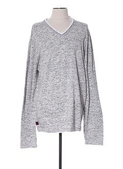 Pull col V gris DEELUXE pour homme