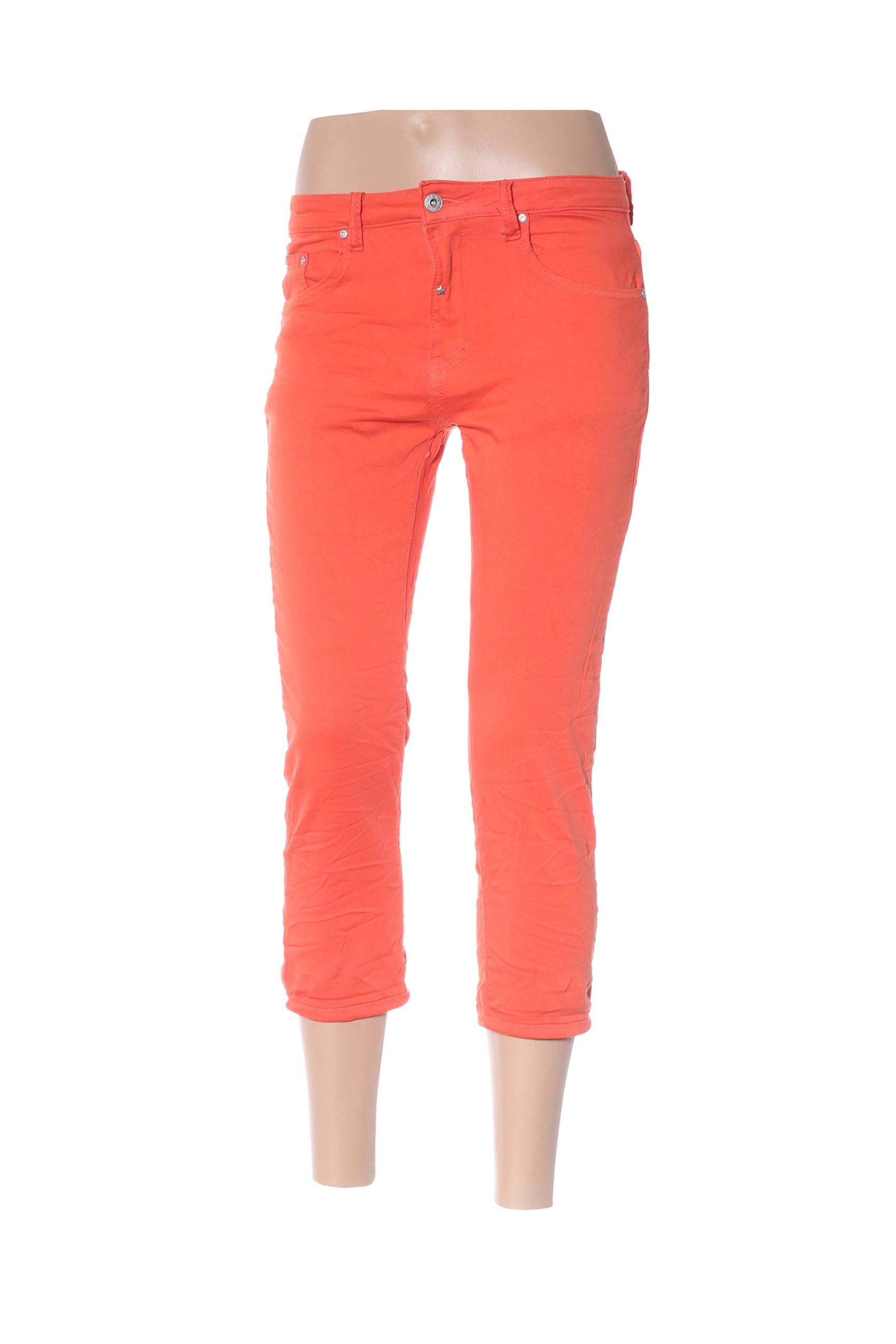 place du jour pantacourts decontractes femme de couleur orange en soldes pas cher 1334226 orange